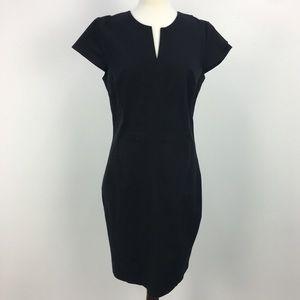 Banana Republic Black Cotton Slit Neckline Dress